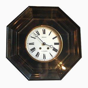 Antike französische Uhr im Empire-Stil aus Buchenholz, Kupfer & Eisen von Ligiey a Nancy