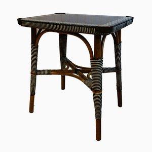 Table d'Appoint Art Déco en Rotin et Verre Coloré, 1920s