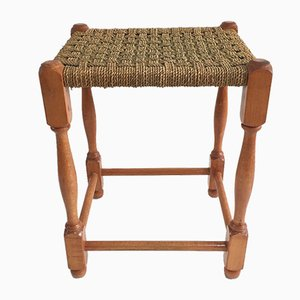 Mid-Century Wood and Rope Stool, 1960s