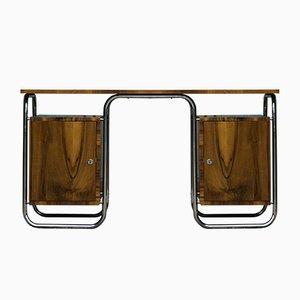 Vintage Art Deco Schreibtisch aus verchromtem Kirschholz und Furnier