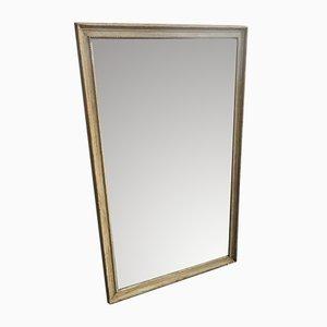 Großer antiker französischer Spiegel im grau lackierten Rahmen
