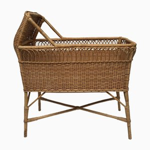 Mid-Century Rattan and Wicker Crib, 1950s