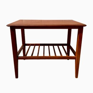 Vintage Teak Side Table with Shelf, 1970s