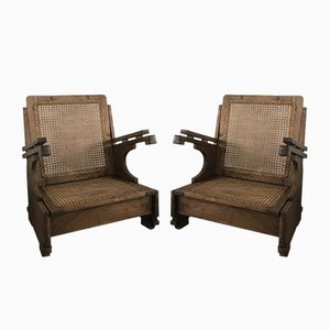 Mid-Century Cane Colonial Armchairs, 1950s, Set of 2