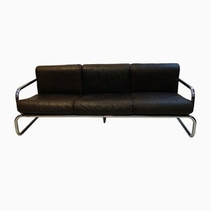 Chrome & Leather Sofa by Rodney Kinsman for OMK, 1970s