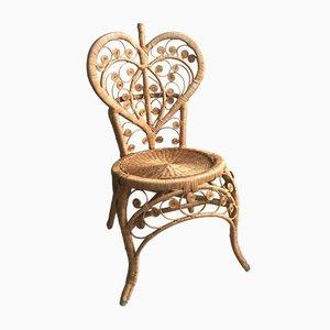 Mid-Century Pfauen-Stuhl aus Rattan in Herz-Optik, 1960er