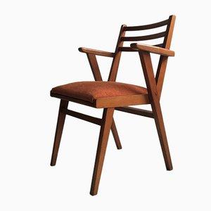 Chaise d'Appoint Mid-Century en Bois et Velours, 1950s