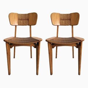 Chaises d'Appoint Mid-Century en Bois et Paille, 1950s, Set de 2