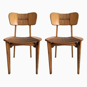 Mid-Century Wood and Straw Side Chairs, 1950s, Set of 2