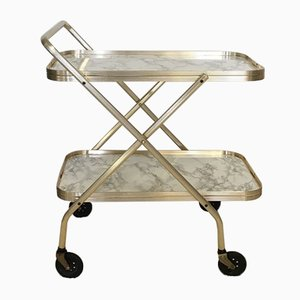 Anodized Aluminum & Gold-Plated Folding Trolley, 1960s