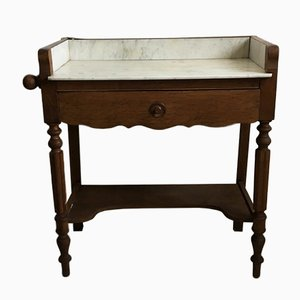 Antique Wood and Marble Dressing Table
