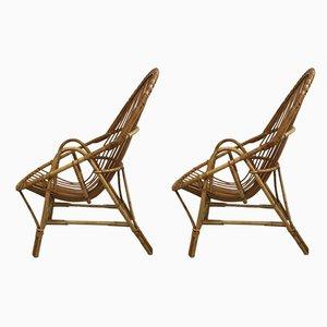 Mid-Century Armlehnstühle aus Rattan, 1960er, 2er Set