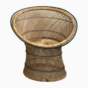 Silla infantil Mid-Century de ratán y madera, años 60