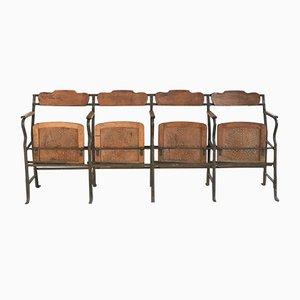 Panca da teatro vintage in metallo e legno, anni '30
