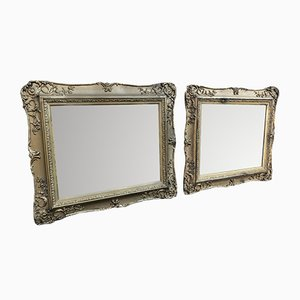19th Century English Carved Wood & Gesso Mirrors, Set of 2