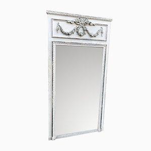 Großer französischer Spiegel im Rahmen aus geschnitztem Holz & Gesso, 19. Jh