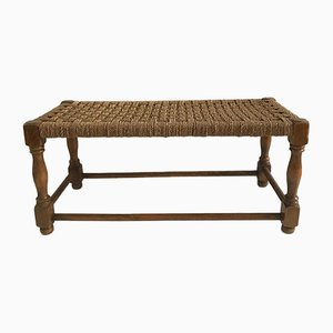 Vintage Wood and Rope Bench, 1970s