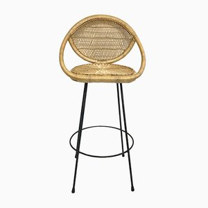 Mid-Century Metal and Rattan Stool, 1960s