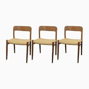 Skandinavische Esszimmerstühle im modernen Stil von Niels Otto Møller für JL Møllers, 1950er, Set of 3