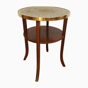 Mid-Century Danish Copper and Oak Coffee Table, 1950s