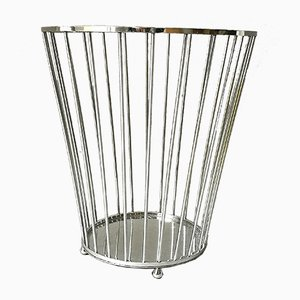 Nickel-Plated Paper Basket by Jacques Adnet, 1940s