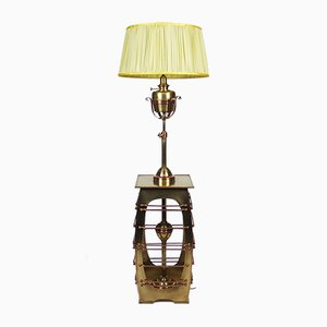 Antike Jugendstil Stehlampe aus Messing und Kupfer
