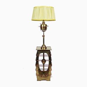 Lampadaire Art Nouveau Antique en Laiton et Cuivre