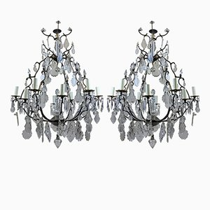 Large French Cage Chandeliers, 1950s, Set of 2