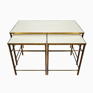Mid-Century Brass and Formica Nesting Tables, 1960s