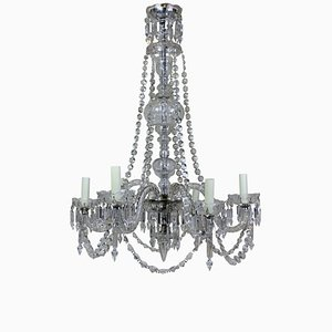Antique English Cut Glass Chandelier, 1900s