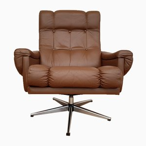 Danish Leather Swivel Lounge Chair, 1970s