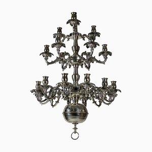 Lámpara de araña francesa antigua de plata, década de 1850