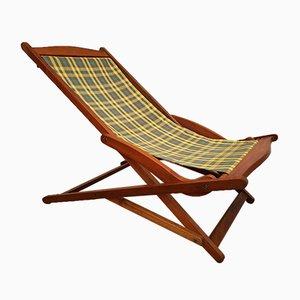 Silla plegable escandinava de tela y teca, años 60