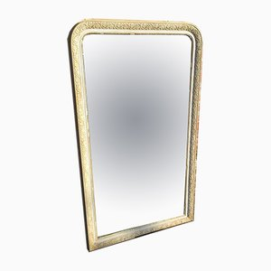 19th Century French Cream Carved Wood & Gesso Mirror
