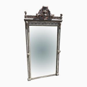 Large Antique 19th Century French Silvered & Painted Carved Wood & Gesso Mirror