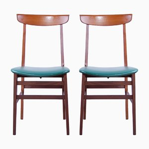 Mid-Century Wooden Dining Chairs, 1950s, Set of 2