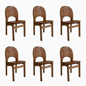 Skandinavische moderne Esszimmerstühle aus Kiefernholz von Glostrup Mobelfabrik, 1970er, 6er Set