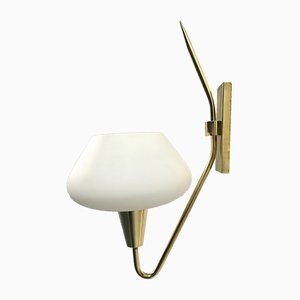 Mid-Century Opaline Glass Sconces from Lunel, Set of 2