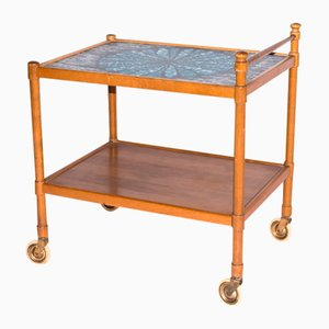 Vintage Scandinavian Serving Trolley with Blue Laminate Top