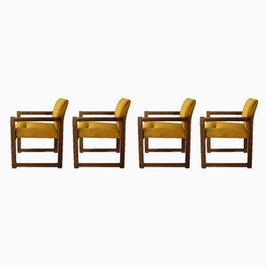 Französische Mid-Century Sessel aus Eiche, 1960er, 4er Set