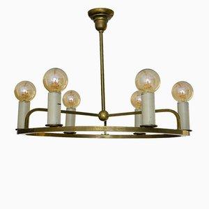 Lámpara de techo alemana Bauhaus vintage de latón, años 30