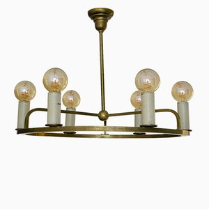 Vintage Bauhaus German Brass Ceiling Lamp, 1930s
