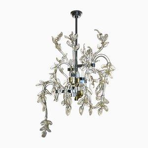 Lámpara de araña Water Lily italiana Mid-Century de cristal de Murano, años 50