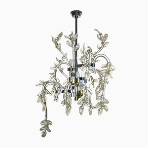 Mid-Century Italian Murano Glass Water Lily Chandelier, 1950s