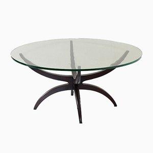 Tavolino da caffè Mid-Century in legno e vetro, anni '50