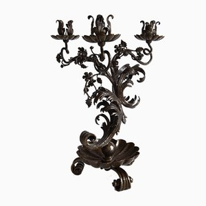 Antique Hand-Crafted Forged Iron Candleholder