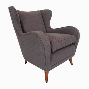 Italian Wood & Cotton ISA Armchairs by Gio Ponti for ISA Bergamo, 1950s, Set of 2