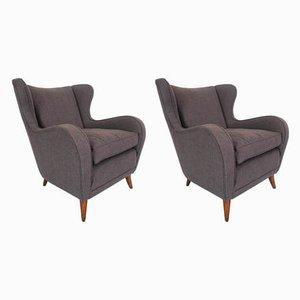 Italienische ISA Armlehnstühle aus Holz & Baumwolle von Gio Ponti für ISA Bergamo, 1950er, 2er Set