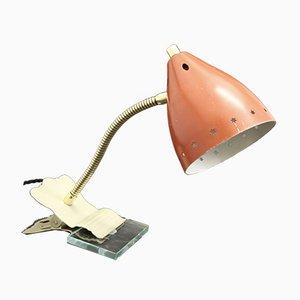 Lámpara de mesa regulable francesa Mid-Century en rojo, años 50
