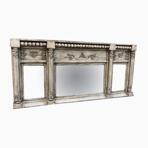 19th Century English Carved Wood & Gesso Overmantel Mirror